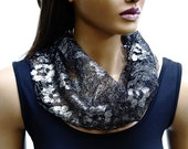 Infinity scarf,Infinity style,Circle scarf,SILVER LACE SCARF,elegant infinity,party time