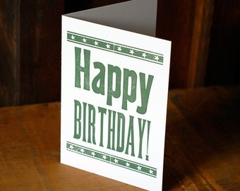 Happy Birthday Card with Envelope - Printed by Hand - Blank Inside - Letterpress Handmade Stationary Printed with Antique Wood Type