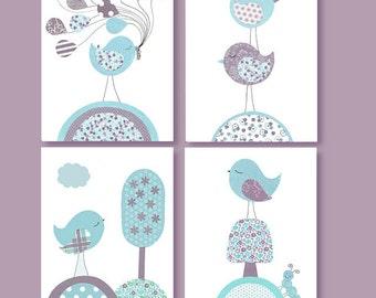 Aqua and Purple Nursery Art Girl's Room Decor Bird Art Prints Lavender Children's decor Playroom Bird Canvas Art Baby Girl Room Decor