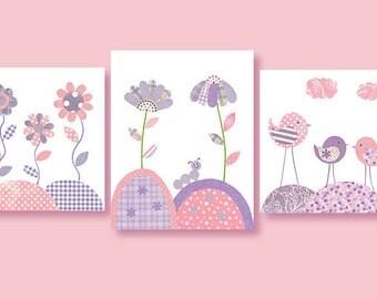 Baby Girl Nursery Art, Flower Art Prints, Nursery Wall Art, Bird Nursery Decor, Girl's Room Decor. Baby Art Prints, Playroom Wall Decor,