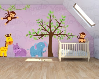 Wall Decal - Jungle Decal - Jungle Wall Decal - Safari Wall Decals - Kids Room Jungle Wall Decals