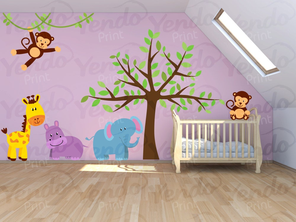 wall decal jungle decal jungle wall decal safari wall. Black Bedroom Furniture Sets. Home Design Ideas