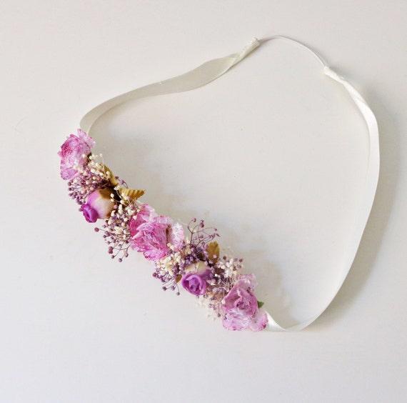 Diadema de flores lila diadema para bautizo diadema ni as - Diademas para bebes bautizo ...
