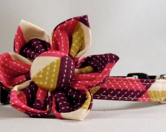 Cat Collar and Flower or Bow Tie - Dewberry