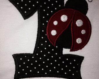 Kids T-Shirt Personalized Birthday Number LadyBug Custom Design