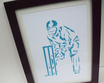 Paper Cut Art - Cricket Picture, Wicket Keeper, Cricketer, Sport Art, Artwork - Silhouette - Art For Men - Christmas Birthday Gift for a Man