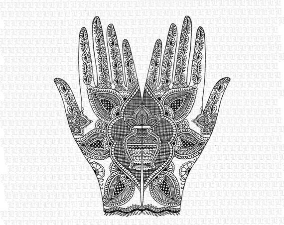 Mehndi Hands Clipart : Hands mehndi hindu henna tattoo design pattern antique image