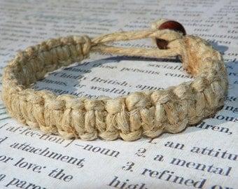 Hemp Macrame Bracelet with knot/loop closure