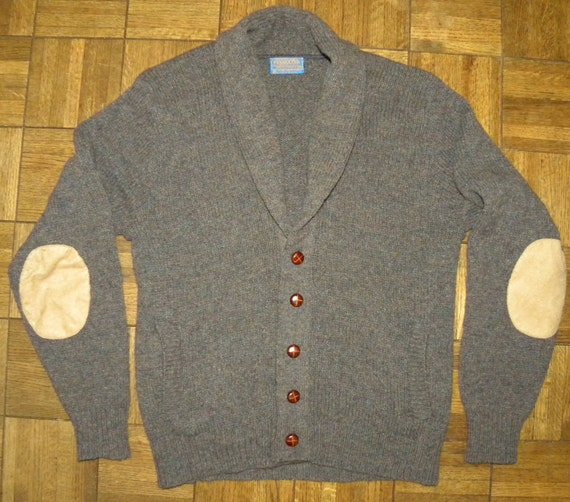 Mens Cardigan Sweater With Leather Elbow Patches - Gray Cardigan ...
