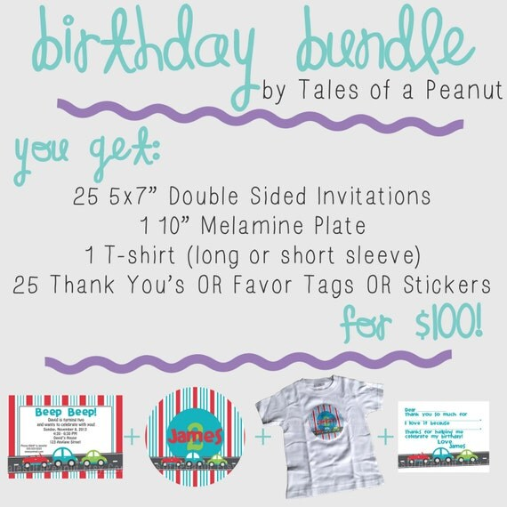 """Birthday Bundle - 25 5x7"""" invitations, 1 10"""" plate, 1 t-shirt, 25 thank you's or favor tags or stickers"""
