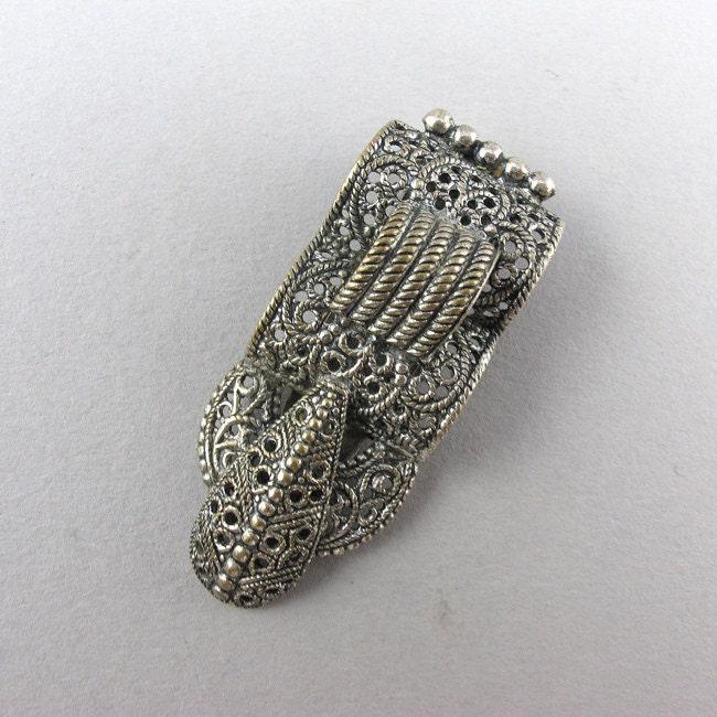Vintage art deco clip 1930s jewelry costume jewelry silver for Art deco costume jewelry