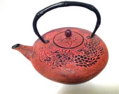 Tetsubin Vintage Red  Cast Iron Dragon Motif, Stamped - ClaraDale