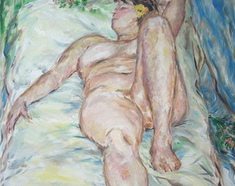 Original Oil Painting- Female Figure Reclining