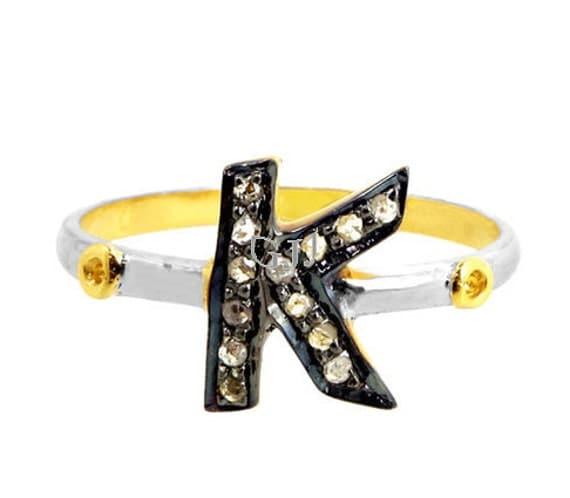 K Letter In Diamond Ring Pave Diamond Ring K Initial Letter Ring of 14 K gold & Sterling Silver ...