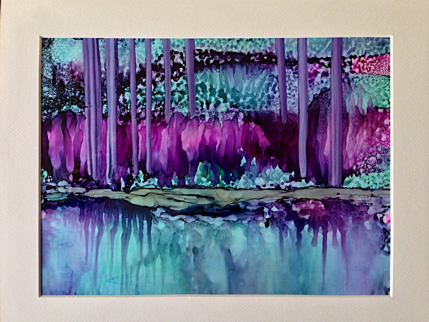 Alcohol Ink Art Original Painting Reflections