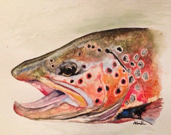 Trout art: brown trout painting print brown trout art fish painting 8x12""
