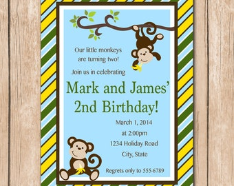 Monkey Birthday Invitation | Brothers, Friends, Twins - 1.00 each printed or 10.00 DIY file