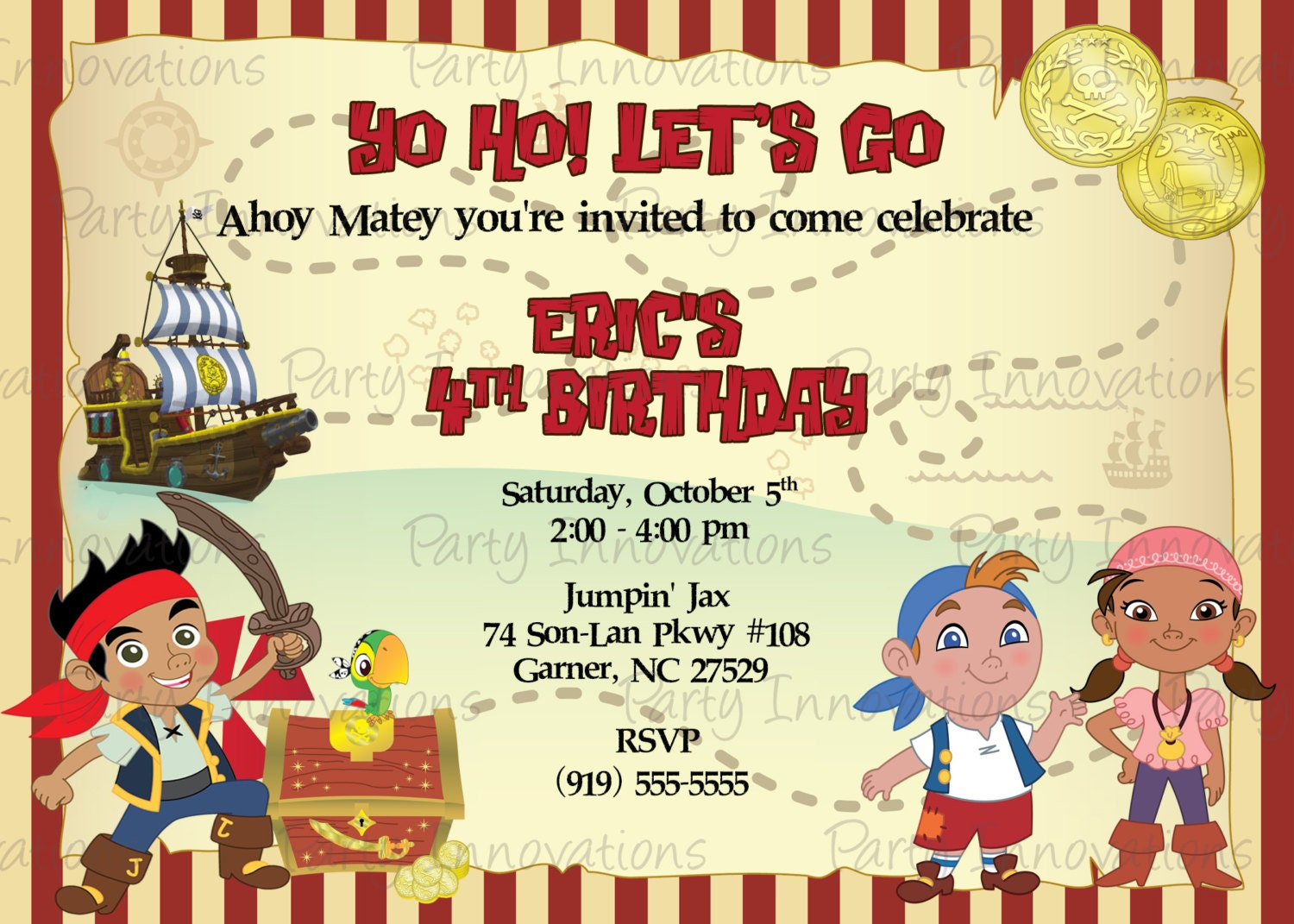 Printable Jake and the neverland Pirates Birthday Party – Free Printable Pirate Birthday Party Invitations