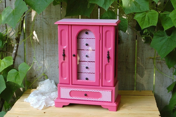 Jewelry Box Armoire Hot Pink Chevron Decoupage Upcycled