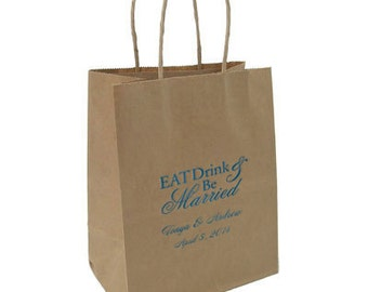 Paper Bags~50 Kraft Personalized Wedding Bags