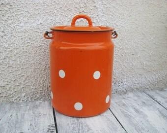 Soviet Vintage enamel milk can with lid. Orange Polka Dot Retro - Vintage Kitchen Decor - Home decor - Industrial vintage - Made in USSR