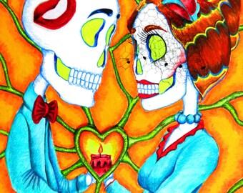 Day of the Dead/ Dia de Los Muertos Print - The Heart Of It All by Lisa Cabrera