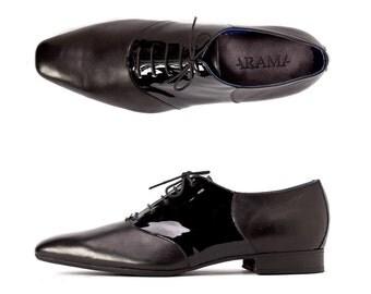 valentine sale -Men's Shoes - Men's Dress Shoes - Flat Shoes - Leather Shoes - Black Patent Leather shoes - Black Dress Shoes- arama shoes