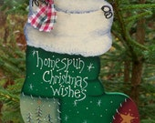 Handpainted Wooden Stocking -- Homespun Christmas Wishes