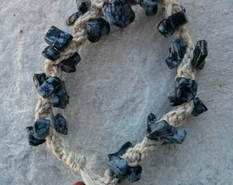 Snowflake Obsidian Hemp Bracelet