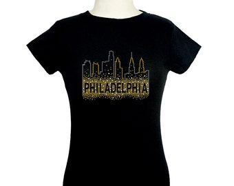 Philadelphia Bling Rhinestone T-Shirt by Mono Design