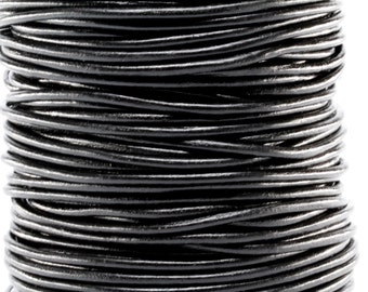 50 Meter Spool of 3MM Black Round Leather Cord (50 Yards) (50m)