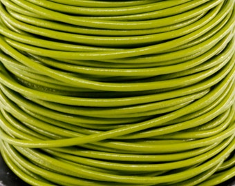 10 Meters of 3MM Seaweed Green Round Leather Cord (10 Yards) (10m)