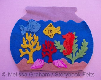 SHOP CLOSING SALE - Felt Fish Bowl Set With Fish Plants Sand And Fish Bowl 10 Piece Set