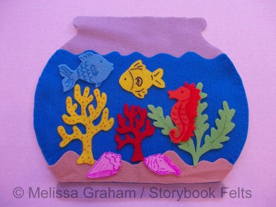 Felt Fish Bowl Set With Fish Plants Sand And Fish Bowl 10 Piece Set