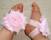 Light Pink Chevron Piggy Petals Baby Barefoot Sandals - Baby Girl Shoes - Infant Shoes - Photo Props - Baby Shower Gift - Sock Keepers