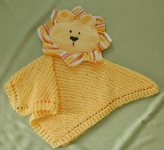 Knitting Pattern For Comfort Blanket : PDF Knitting Pattern HugKnits LION Security blanket Lovey