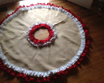 Burlap Tree Skirt , Ruffled in Red Muslin and White Muslin Fabrics Combination Rustic Christmas Tree Skirt