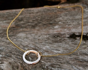 Shell Ring Necklace 14k