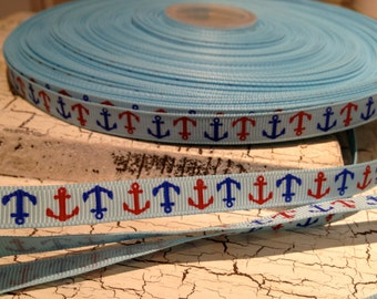 "5 yards 3/8"" Preppy Red and Blue Nautical Anchor Grosgrain Ribbon sold by the yard"