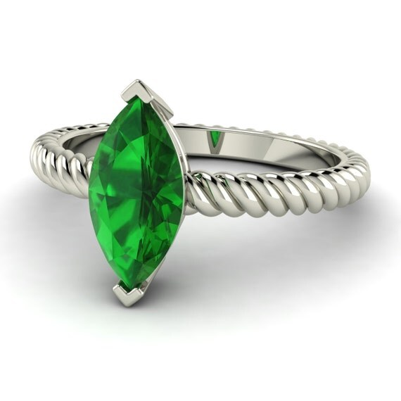 emerald ring marquise cut emerald solotaire by