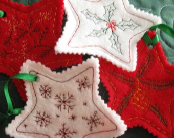Set of 4 Machine Embroidered Holiday Oranaments  READY TO SHIP!!