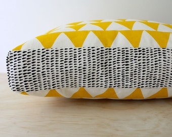 Tri Yellow 40cm x 40cm box cushion - Hand screen printed