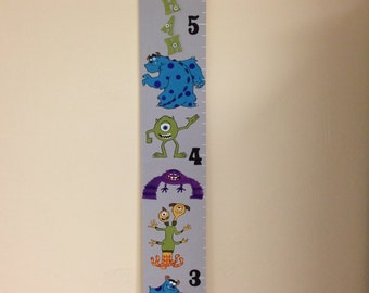 Monsters Inc. hand painted wooden growth chart