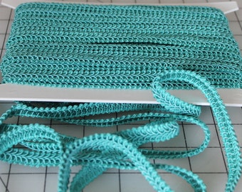 2 5/8 Yards Turquoise Classic Woven Braided 1/2 Inch Gimp/Sewing/Crafting/Upholstery/Finishing Heavy Quality Trim -END OF BOLT Sale
