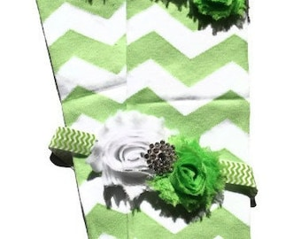 Beautiful Apple Green Chevron Leg Warmers with Matching Headband Set, Makes great photography prop
