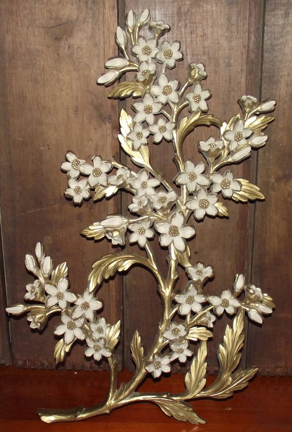 Gold Syroco Floral Wall Plaque 1960s By Daytonavintage On Etsy
