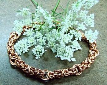 Elegant Copper Chainmail Bracelet - Customizable