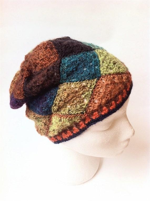 Slouchy beanie, crochet hat,  harlequin beanie, wool hat