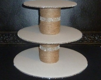 tiered jute bling faux rhinestone rustic wedding cupcake stand tower cake pop display holder candy buffet dessert bar table disassembled DIY