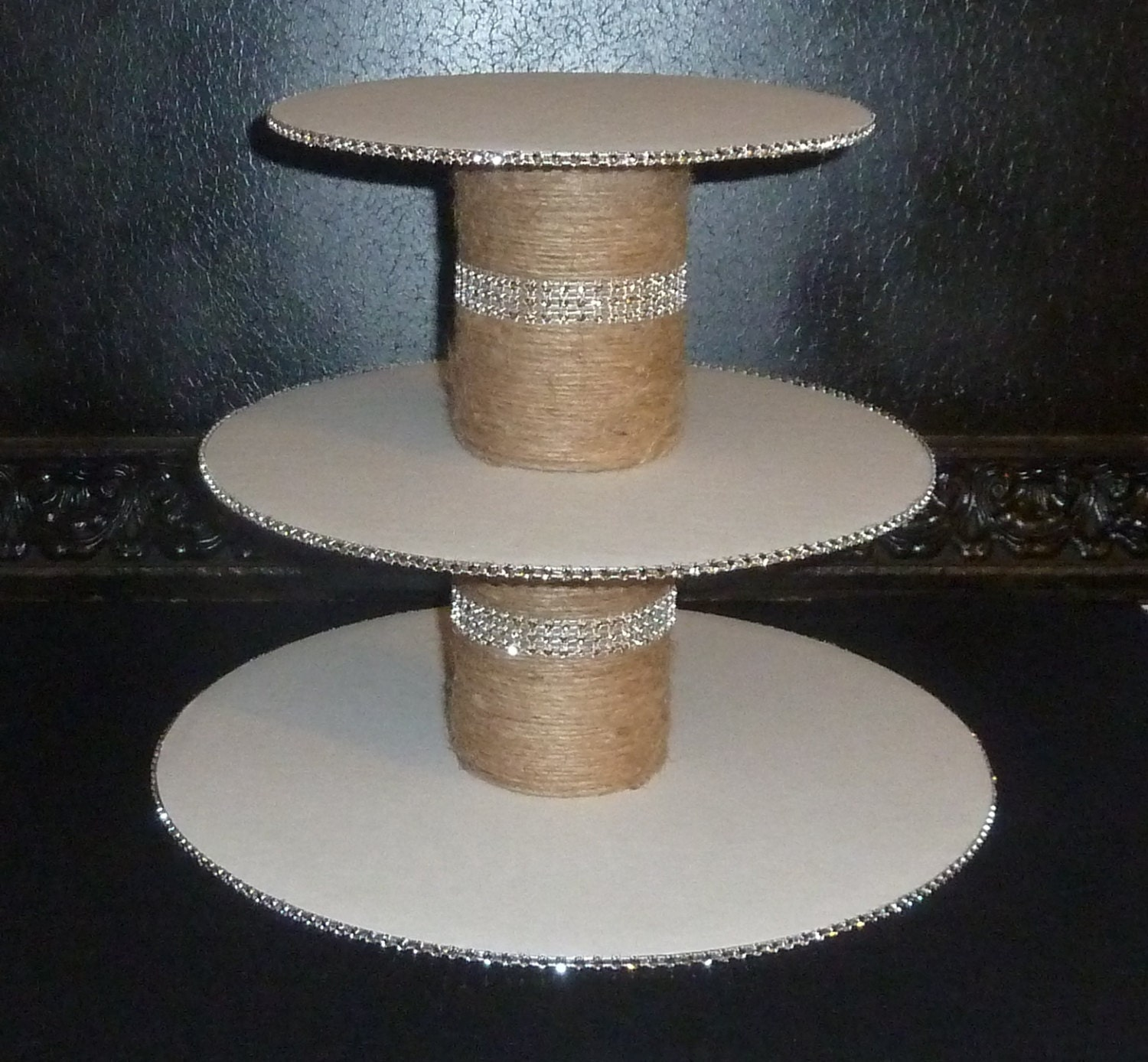 tiered jute bling faux rhinestone rustic by